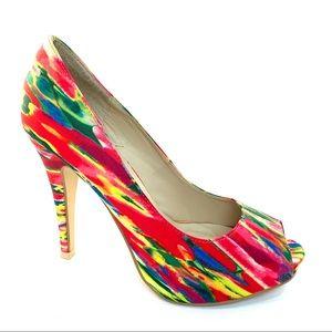 Multi colored peep toe heels Call it Spring Sz 7.5